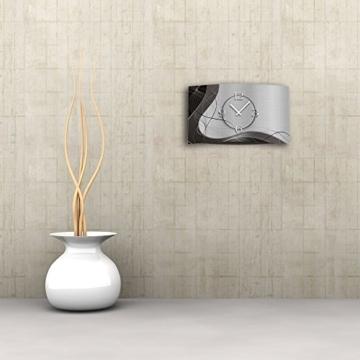 Abstrakt grau Designer Wanduhr modernes Wanduhren Design 28cm x 48cm leise kein ticken DIXTIME 3D-0053 - 2