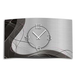 Abstrakt grau Designer Wanduhr modernes Wanduhren Design 28cm x 48cm leise kein ticken DIXTIME 3D-0053 - 1
