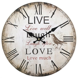 Alte Wanduhr 34cm LIVE LAUGH LOVE Antik Design Wanduhr - 1
