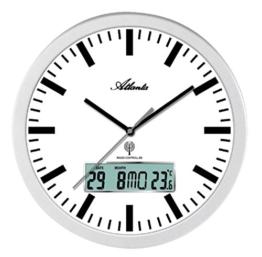 Atlanta Funkwanduhr Bahnhofsuhr Bürouhr Analog Digital LCD – 4380-B - 1