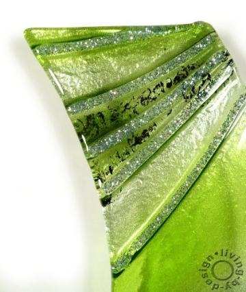 Design Wanduhr aus Glas grün verde - Designer Glasuhr - Sehr Hochwertig - Handarbeit - Exklusives Unikat - Größe 50x8cm - 2