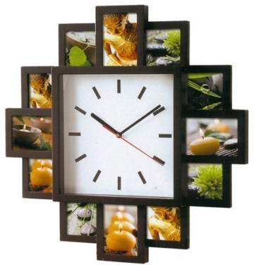 foto wanduhr foto galerieuhr f r 12 bilder mit uhr mit schwarzen bilderrahmen. Black Bedroom Furniture Sets. Home Design Ideas