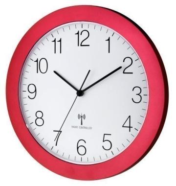 Funk-Wanduhr TFA 60.3512.05 rot-metallic mit Lautlos Sweep-Uhrwerk 300 mm - 1