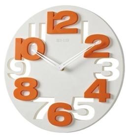 GMMH 3 D Design Moderne Wanduhr 8808 Küchenuhr Baduhr Bürouhr Dekoration ruhig (weiß orange) - 1