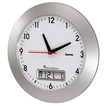 Hama Funkwanduhr mit digitalem Kalender, 30 cm, silber,