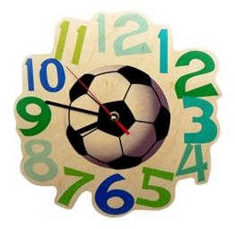 Hess Holzspielzeug 30000 Kinderwanduhr Fußball aus Holz, Durchmesser 21 cm - 1
