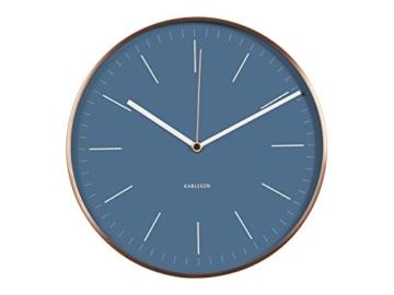 KARLSSON KA5507BL Wanduhr Minimal mit Rahmen Metall, 5 x 27,5 x 27,5 cm, jeansblau / kupfer - 1