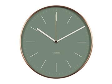 KARLSSON KA5507GR Wanduhr Minimal mit Rahmen Metall, 5 x 27,5 x 27,5 cm, foliage grün / kupfer - 1