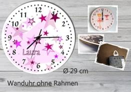 Kinder Wanduhr Kinderuhr Kinderzimmer Uhr mit Namen personalisiert laufruhig leise Sterne rosa (29 cm) - 1