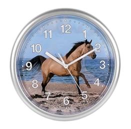 Kinder Wanduhr mit Pferdemotiv kein Ticken Schleichende Sekunde 25cm 80021 - 1