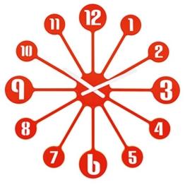 Koziol Pinball Wanduhr, Uhr, Quarzuhrwerk, Dekoration, Orangerot, H 45 cm, 2341633 - 1