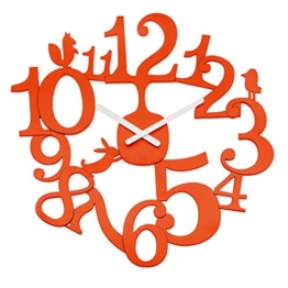 Koziol [pi:p] Wanduhr, Uhr, Quarzuhrwerk, Dekoration, Orangerot, H 44.5 cm, 2327633 - 1