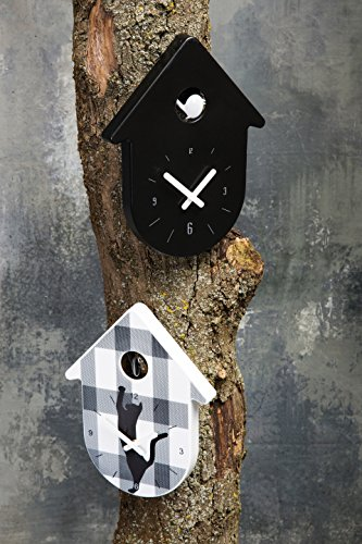 Koziol Toc-Toc Wanduhr, Uhr, Quarzuhrwerk, Solid Weiß mit Zeiger Schwarz, 2329101 - 2