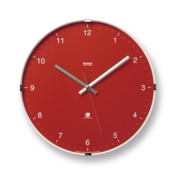 Lemnos T1-0117 North Clock, Große japanische Design-Wanduhr mit klarem Ziffernblatt, rot - 1