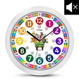 ONETIME Kinderwanduhr (Ø) 30,5 cm Kinder Wanduhr mit lautlosem Uhrenwerk und farbenfrohem Design mit Tieren - Ablesen der Uhrzeit lernen - 1
