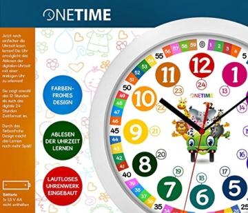 ONETIME Kinderwanduhr (Ø) 30,5 cm Kinder Wanduhr mit lautlosem Uhrenwerk und farbenfrohem Design mit Tieren - Ablesen der Uhrzeit lernen - 2
