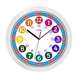 ONETIME Kinderwanduhr (Ø) 30,5 cm Kinder Wanduhr mit lautlosem Uhrenwerk und farbenfrohem Design – Ablesen der Uhrzeit lernen - 1