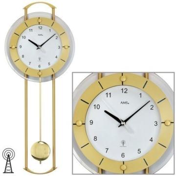 Pendeluhr AMS Wanduhr 5255 mit Pendel Funk Mineralglas mit messinglackierten Metallstäben - 1