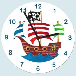 Piraten Uhr, Piratenschiff, Kinderzimmer-Uhr - 1