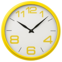 Premier Housewares 2200705 Wanduhr mit Gehäuse aus Kunststoff, Gelb - 1