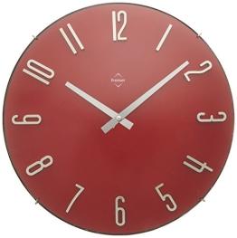 Premier Housewares Wanduhr mit silbernen Zahlen und Zeigern, rot - 1