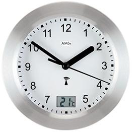 Runde AMS Wanduhr 5923 Funk Gehäuse Silber, wasserdichte Badezimmeruhr mit digitaler Temperatur-Anzeige - 1