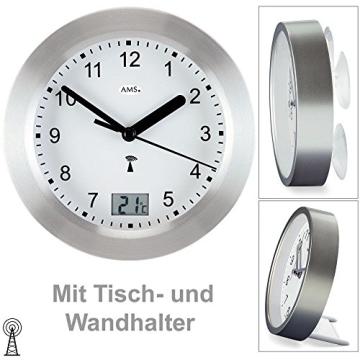 Runde AMS Wanduhr 5923 Funk Gehäuse Silber, wasserdichte Badezimmeruhr mit digitaler Temperatur-Anzeige - 2