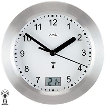 Runde AMS Wanduhr 5923 Funk Gehäuse Silber, wasserdichte Badezimmeruhr mit digitaler Temperatur-Anzeige - 3