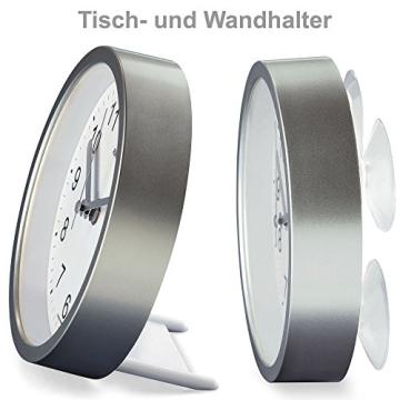 Runde AMS Wanduhr 5923 Funk Gehäuse Silber, wasserdichte Badezimmeruhr mit digitaler Temperatur-Anzeige - 4