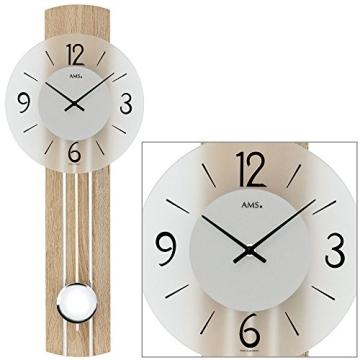 Trendige Moderne Pendeluhr Quarz Wanduhr Von Ams Holz Mineralglas