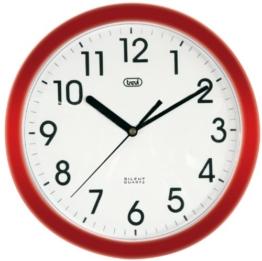 Trevi 3301 – Design-Wanduhr mit Quarzwerk – Kein Ticken – 25cm Durchmesser – Rot - 1