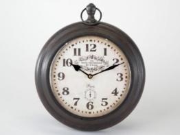 Wanduhr Antik, rund, 36 cm Ø, Metall, schwarz-braun - 1