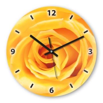 Wanduhr Mit Motiv Rose Gelb Aus Mdf Holz Runde Küchenuhr Große