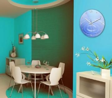 wanduhr mit motiv wassertropfen blau aus mdf holz runde k chenuhr gro e wanduhr modern. Black Bedroom Furniture Sets. Home Design Ideas