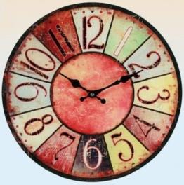 """Wanduhr """"Vintage Colors"""" – rot – farbenfrohe Glasuhr im modernen Design mit arabischen Ziffern, Ø: 38 cm - 1"""