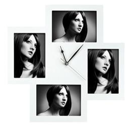 ZEP Bergamo Wanduhr 45 x 45 cm weiß mit Bilderrahmen für 4 Bilder je 13 x 18 cm - 1
