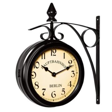 Zweiseitige Bahnhofsuhr - Wanduhr Uhr Retro Antik Stil Quarz schwarz - 2