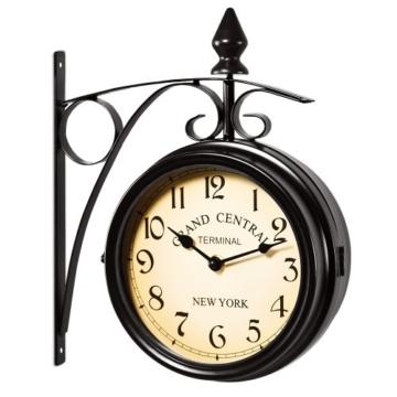 Zweiseitige Bahnhofsuhr - Wanduhr Uhr Retro Antik Stil Quarz schwarz - 6