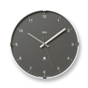 Lemnos T1-0117 North Clock, Große japanische Design-Wanduhr mit klarem Ziffernblatt, grau - 1