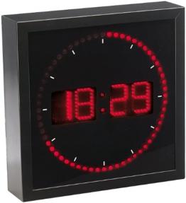 Lunartec LED-Wanduhr mit Sekunden-Lauflicht durch rote LEDs - 1