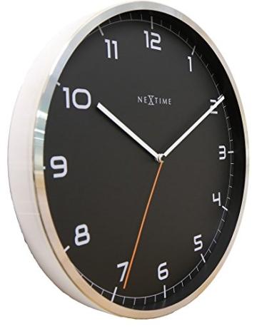 NeXtime Company Wanduhr, Küchenuhr, Uhr, Bürouhr, Wohnzimmeruhr, Deko, Aluminium, Glas, Schwarzes Ziffernblatt, Ø 35cm, 3080zw - 2