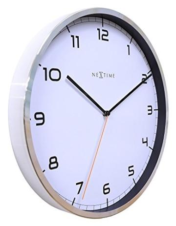 NeXtime Company Wanduhr, Küchenuhr, Uhr, Bürouhr, Wohnzimmeruhr, Deko, Aluminium, Glas, Weißes Ziffernblatt, Ø 35cm, 3080wi - 2