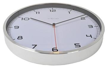 NeXtime Company Wanduhr, Küchenuhr, Uhr, Bürouhr, Wohnzimmeruhr, Deko, Aluminium, Glas, Weißes Ziffernblatt, Ø 35cm, 3080wi - 4