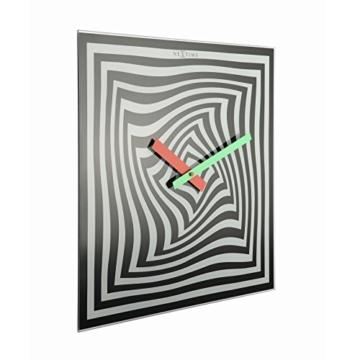 NeXtime Crazy Time Wanduhr, Küchenuhr, Uhr, Bürouhr, Wohnzimmeruhr, Deko, Glas Schwarz Weiß, 43 x 43 cm, 8177 - 3