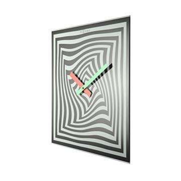 NeXtime Crazy Time Wanduhr, Küchenuhr, Uhr, Bürouhr, Wohnzimmeruhr, Deko, Glas Schwarz Weiß, 43 x 43 cm, 8177 - 6