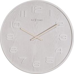 NeXtime Wood Wood Big Wanduhr, Küchenuhr, Uhr, Bürouhr, Wohnzimmeruhr, Deko, Holz, Weiß, Ø 53 cm, 3095wi - 1
