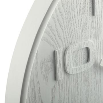 NeXtime Wood Wood Big Wanduhr, Küchenuhr, Uhr, Bürouhr, Wohnzimmeruhr, Deko, Holz, Weiß, Ø 53 cm, 3095wi - 4