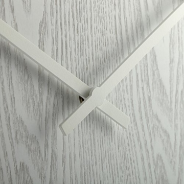 NeXtime Wood Wood Big Wanduhr, Küchenuhr, Uhr, Bürouhr, Wohnzimmeruhr, Deko, Holz, Weiß, Ø 53 cm, 3095wi - 5