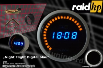 Raid HP 660510 Zusatzinstrument Uhr Serie Night Flight Digital Blue - 2