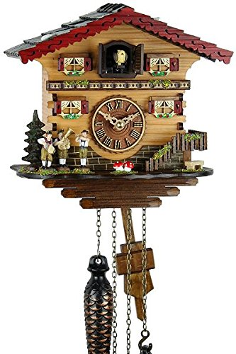 Schwarzwälder Kuckucksuhr aus Echtholz mit batteriebetriebenem Quartzwerk und Kuckuckruf - Angebot von Uhren-Park Eble - Musikanten 21cm- - 1